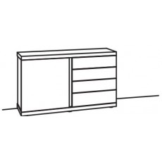 Venjakob V-Plus 6.0 Sideboard 1 Door 1 Wood Shelf 4 Pull Out Drawers Right