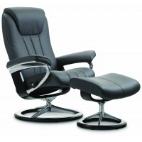 Stressless Bliss Signature Base Small Recliner Chair With Footstool