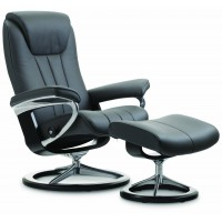 Stressless Bliss Signature Base Medium Recliner Chair With Footstool