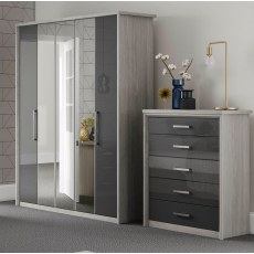 Kingstown Cosmos 8 Door Centre Mirror Bi-fold Wardrobe